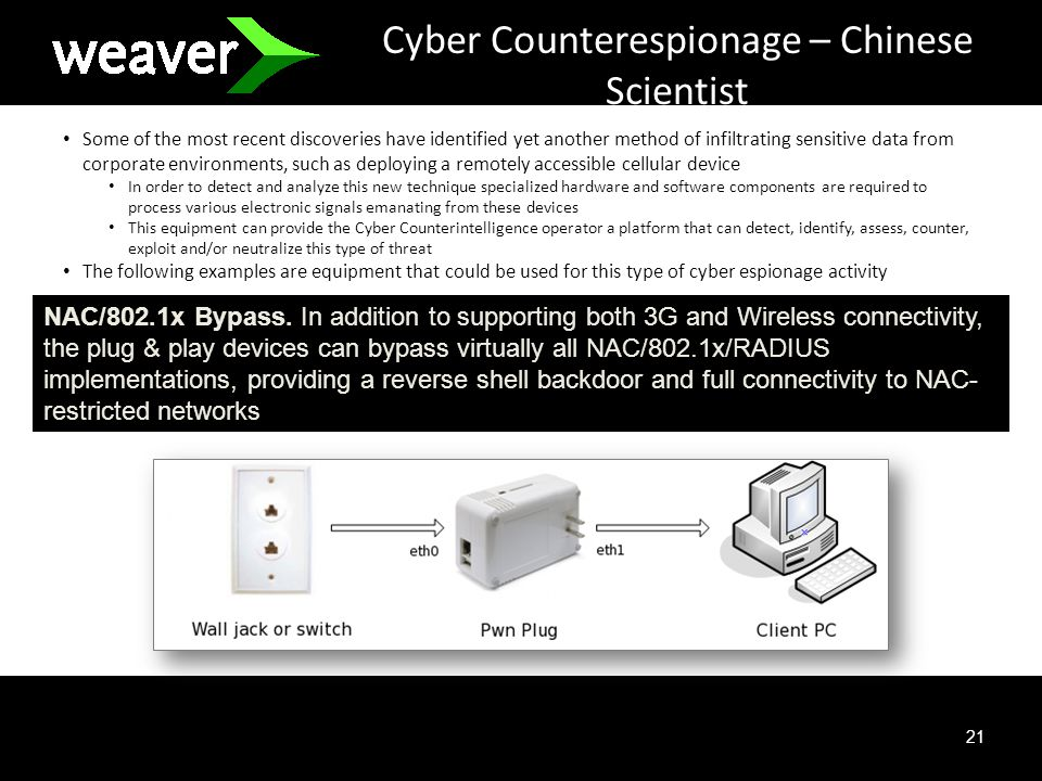 21 Cyber Counterespionage – Chinese Scientist Some of the most recent discoveries have identified yet another method of infiltrating sensitive data from corporate environments, such as deploying a remotely accessible cellular device In order to detect and analyze this new technique specialized hardware and software components are required to process various electronic signals emanating from these devices This equipment can provide the Cyber Counterintelligence operator a platform that can detect, identify, assess, counter, exploit and/or neutralize this type of threat The following examples are equipment that could be used for this type of cyber espionage activity NAC/802.1x Bypass.