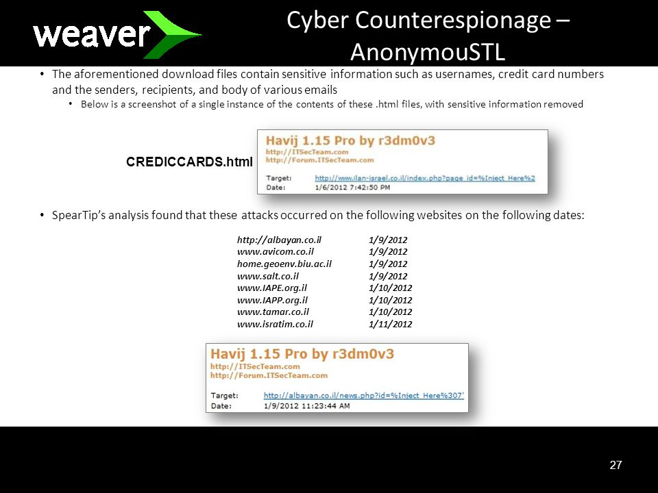 27 Cyber Counterespionage – AnonymouSTL The aforementioned download files contain sensitive information such as usernames, credit card numbers and the senders, recipients, and body of various emails Below is a screenshot of a single instance of the contents of these.html files, with sensitive information removed SpearTips analysis found that these attacks occurred on the following websites on the following dates: http://albayan.co.il1/9/2012 www.avicom.co.il1/9/2012 home.geoenv.biu.ac.il1/9/2012 www.salt.co.il1/9/2012 www.IAPE.org.il1/10/2012 www.IAPP.org.il1/10/2012 www.tamar.co.il1/10/2012 www.isratim.co.il1/11/2012 CREDICCARDS.html