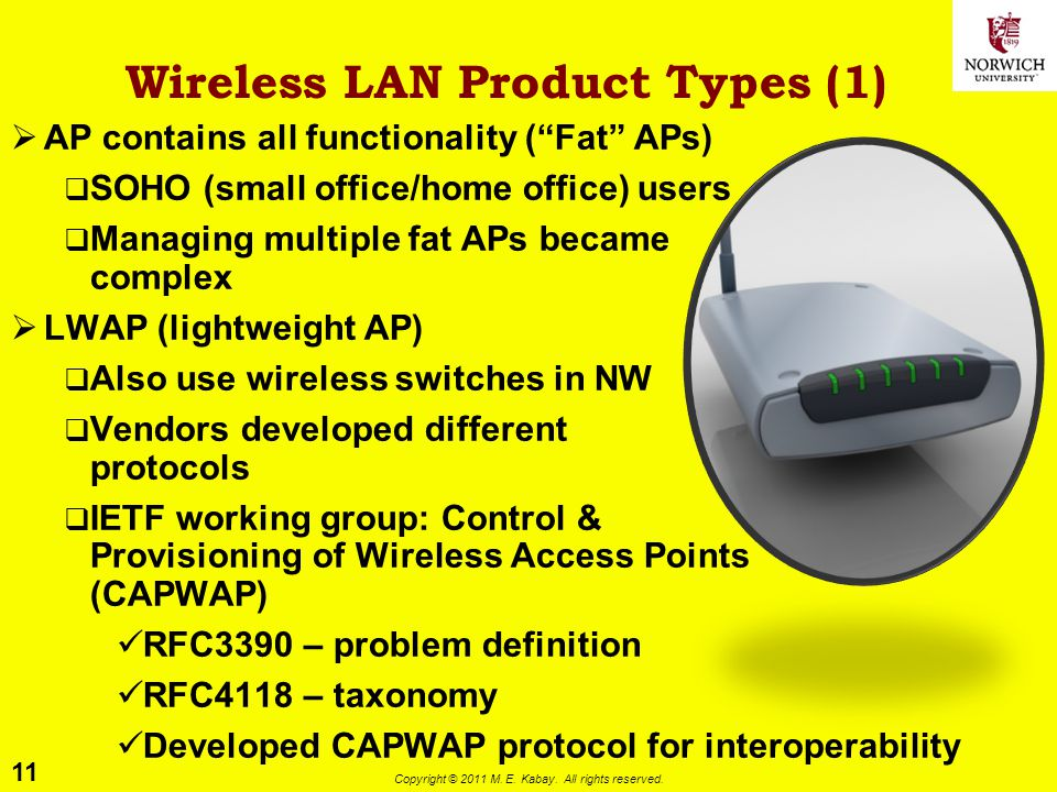 11 Copyright © 2011 M. E. Kabay. All rights reserved. Wireless LAN Product Types (1) AP contains all functionality (Fat APs) SOHO (small office/home o