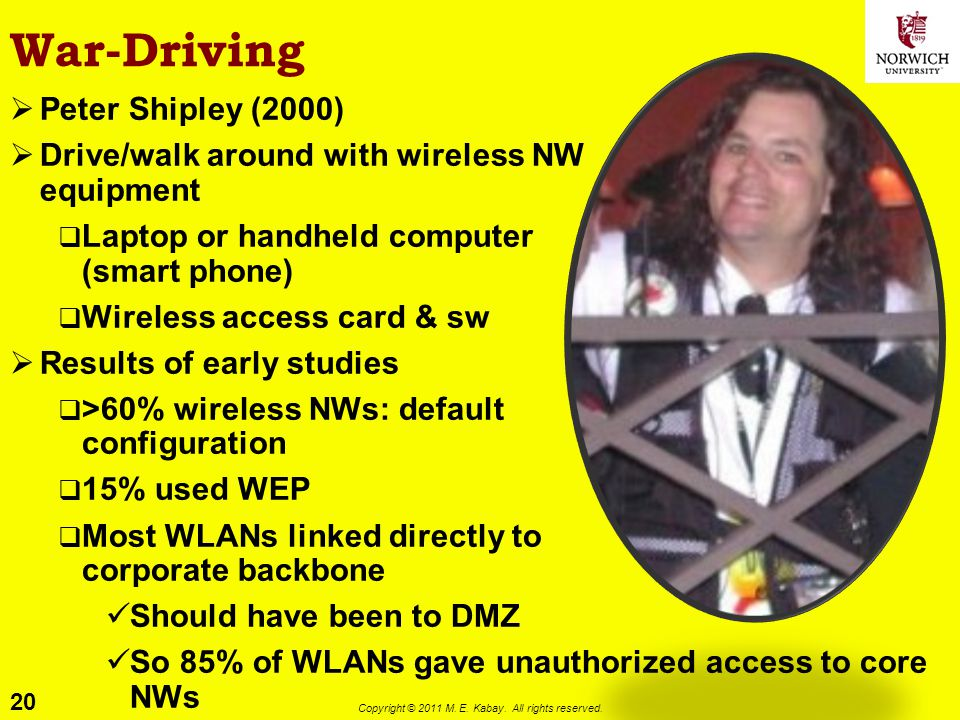 20 Copyright © 2011 M. E. Kabay. All rights reserved. War-Driving Peter Shipley (2000) Drive/walk around with wireless NW equipment Laptop or handheld