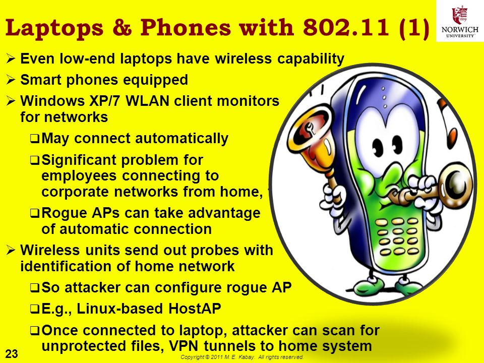 23 Copyright © 2011 M. E. Kabay. All rights reserved. Laptops & Phones with 802.11 (1) Even low-end laptops have wireless capability Smart phones equi
