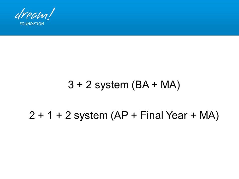3 + 2 system (BA + MA) 2 + 1 + 2 system (AP + Final Year + MA)