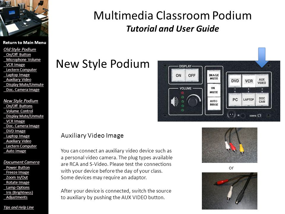 New Style Podium Multimedia Classroom Podium Tutorial and User Guide Auxiliary Video Image Return to Main Menu Old Style Podium On/Off Button Microphone Volume VCR Image Lectern Computer Laptop Image Auxiliary Video Display Mute/Unmute Doc.