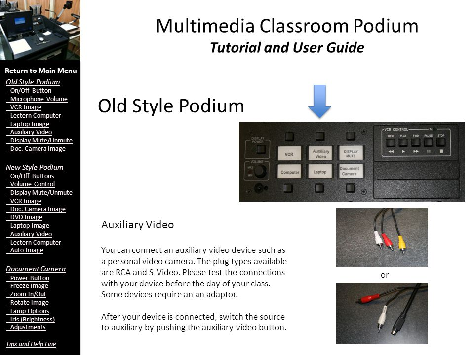 Multimedia Classroom Podium Tutorial and User Guide Old Style Podium Auxiliary Video Return to Main Menu Old Style Podium On/Off Button Microphone Volume VCR Image Lectern Computer Laptop Image Auxiliary Video Display Mute/Unmute Doc.