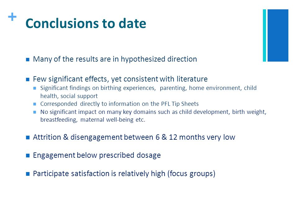 + Conclusions to date Many of the results are in hypothesized direction Few significant effects, yet consistent with literature Significant findings o