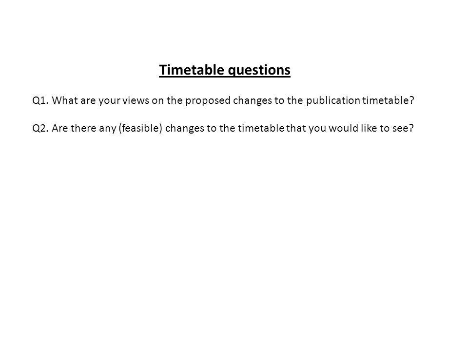 Timetable questions Q1. What are your views on the proposed changes to the publication timetable? Q2. Are there any (feasible) changes to the timetabl