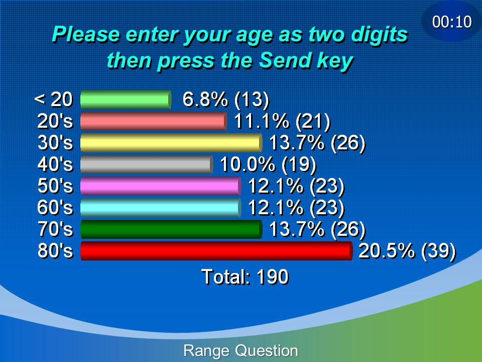 Please enter your age as two digits then press the Send key Range Question 00:10