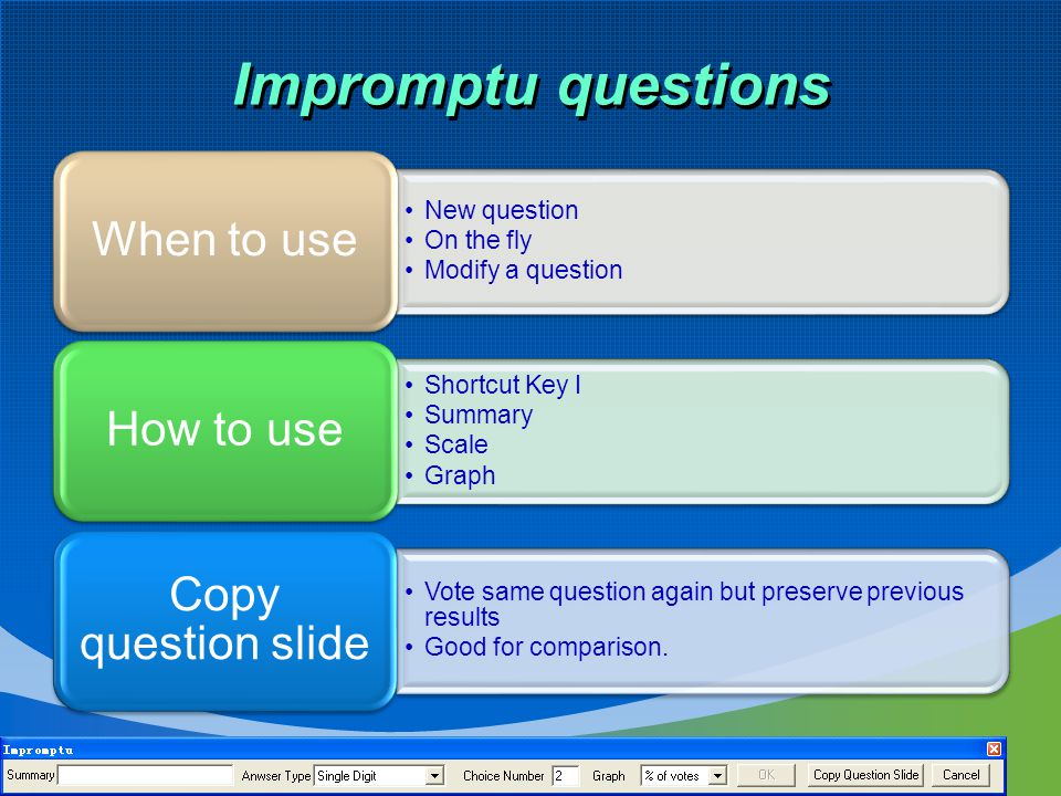 Impromptu questions New question On the fly Modify a question When to use Shortcut Key I Summary Scale Graph How to use Vote same question again but preserve previous results Good for comparison.