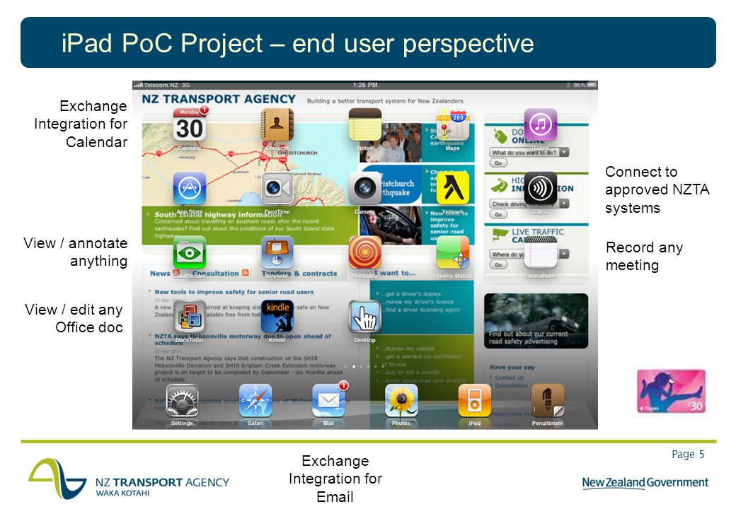 Page 5 iPad PoC Project – end user perspective View / annotate anything View / edit any Office doc Record any meeting Connect to approved NZTA systems