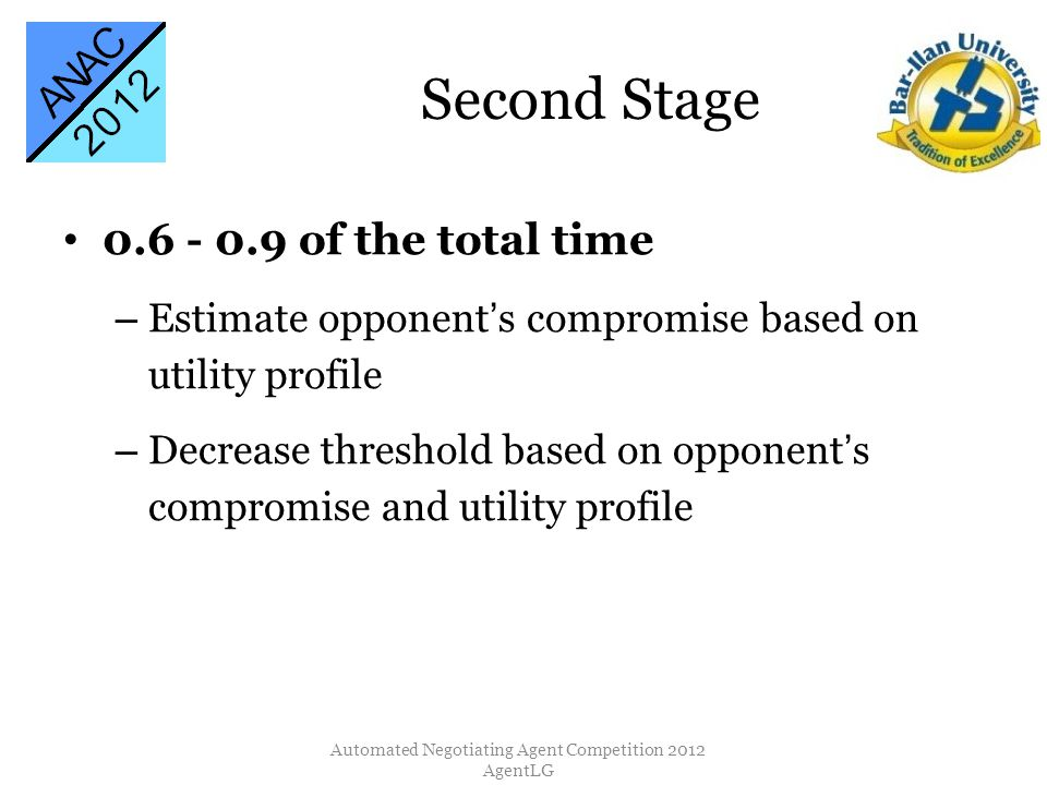 Second Stage 0.6 - 0.9 of the total time – Estimate opponents compromise based on utility profile – Decrease threshold based on opponents compromise a