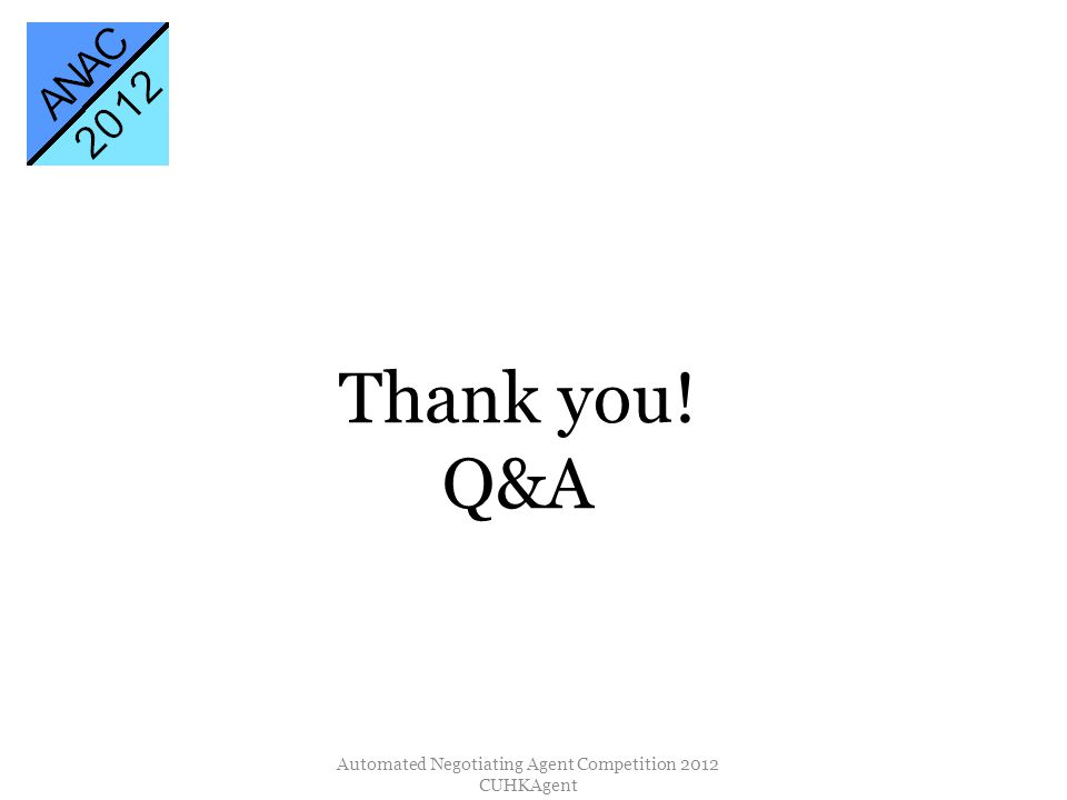 Thank you! Q&A Automated Negotiating Agent Competition 2012 CUHKAgent