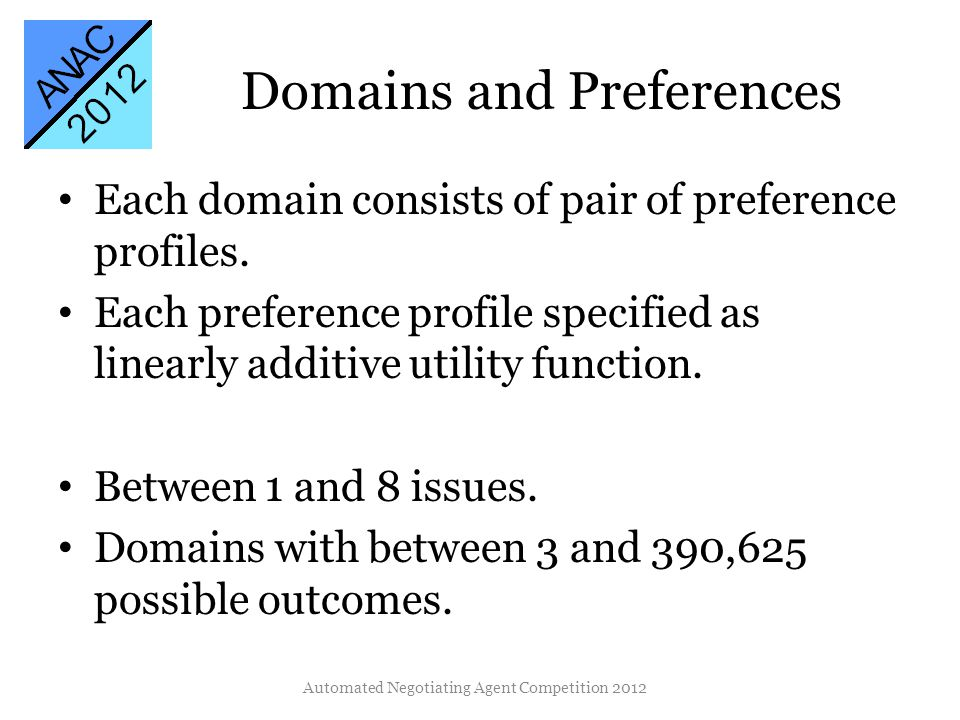 Domains and Preferences Each domain consists of pair of preference profiles.