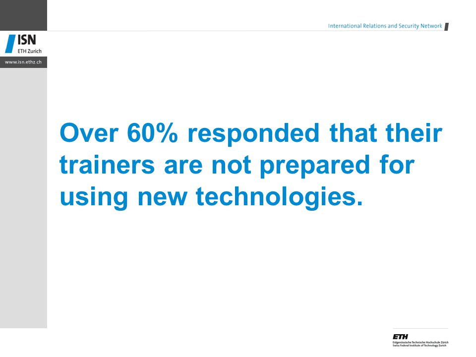 Over 60% responded that their trainers are not prepared for using new technologies.