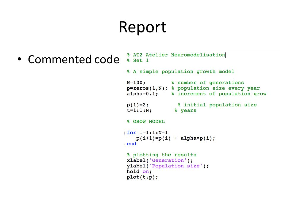 Report Commented code