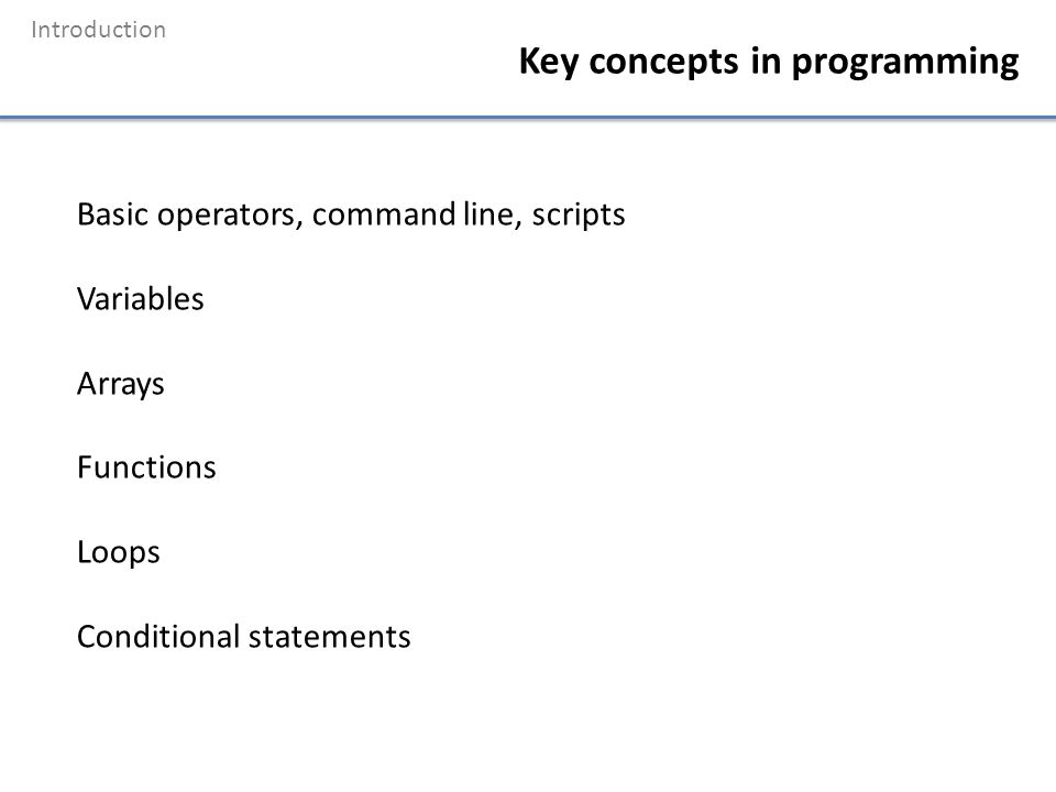 Introduction Key concepts in programming Basic operators, command line, scripts Variables Arrays Functions Loops Conditional statements