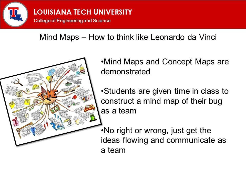 L OUISIANA T ECH U NIVERSITY MECHANICAL ENGINEERING PROGRAM Mind Maps – How to think like Leonardo da Vinci College of Engineering and Science Mind Ma