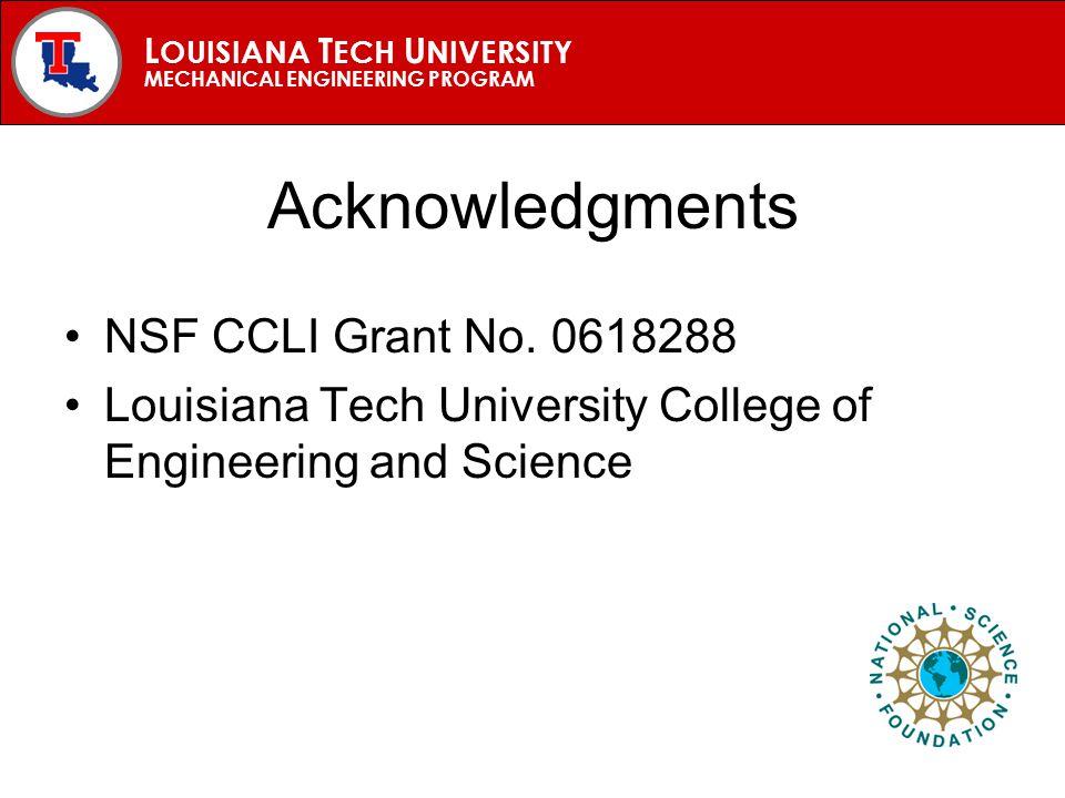 L OUISIANA T ECH U NIVERSITY MECHANICAL ENGINEERING PROGRAM Acknowledgments NSF CCLI Grant No.