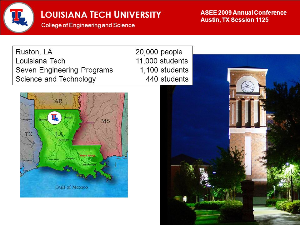 L OUISIANA T ECH U NIVERSITY MECHANICAL ENGINEERING PROGRAM College of Engineering and Science ASEE 2009 Annual Conference Austin, TX Session 1125 Rus