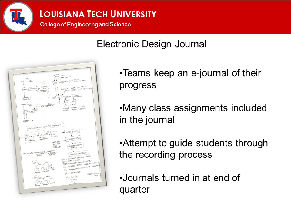 L OUISIANA T ECH U NIVERSITY MECHANICAL ENGINEERING PROGRAM Electronic Design Journal College of Engineering and Science Teams keep an e-journal of th