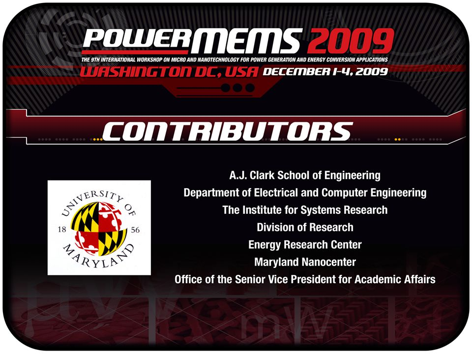 Guided Tour of the University of Maryland, Maryland NanoCenter and Energy Research Center Thursday, December 3 rd
