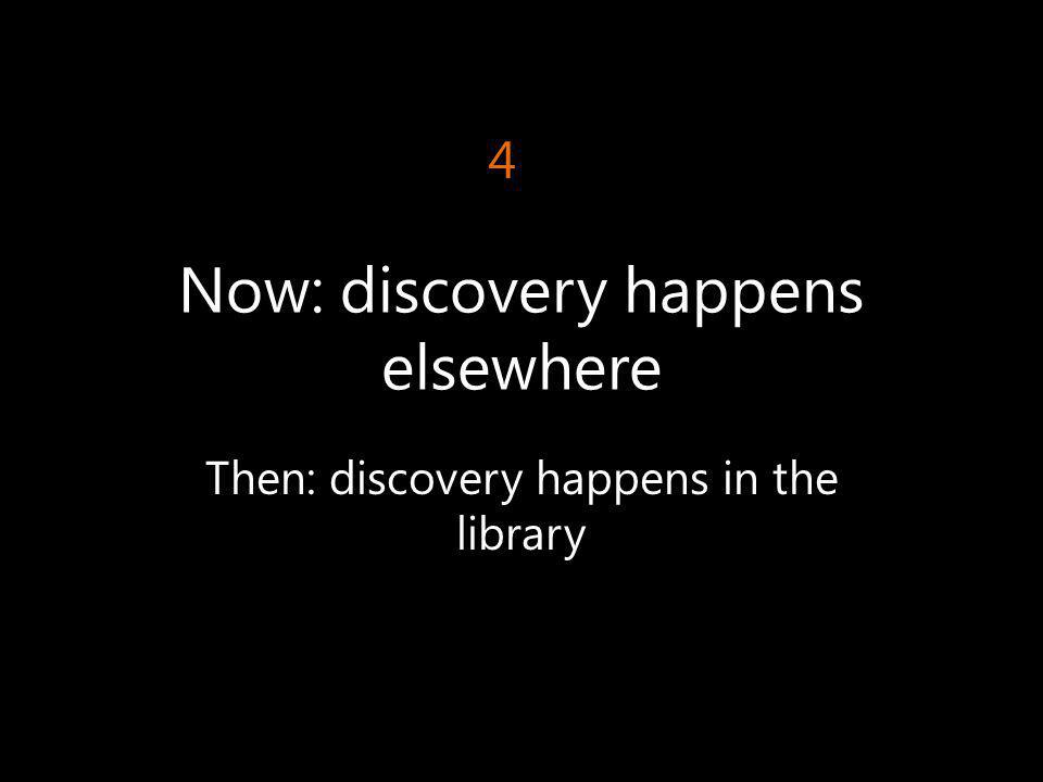 Now: discovery happens elsewhere Then: discovery happens in the library 4