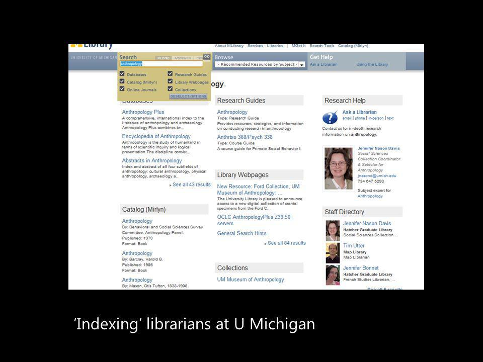 Indexing librarians at U Michigan