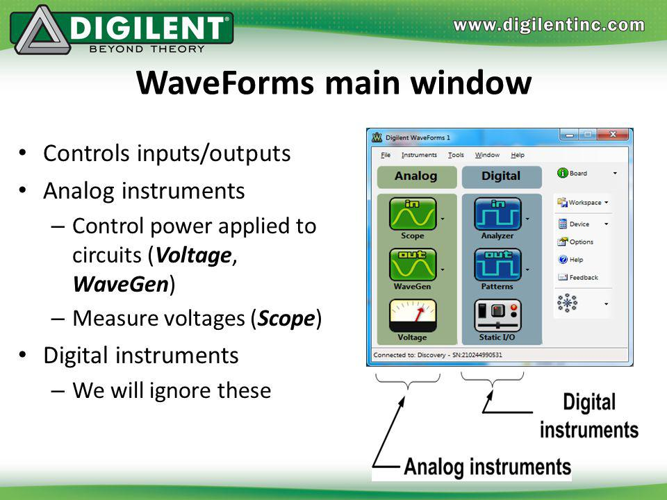 WaveForms main window Controls inputs/outputs Analog instruments – Control power applied to circuits (Voltage, WaveGen) – Measure voltages (Scope) Dig