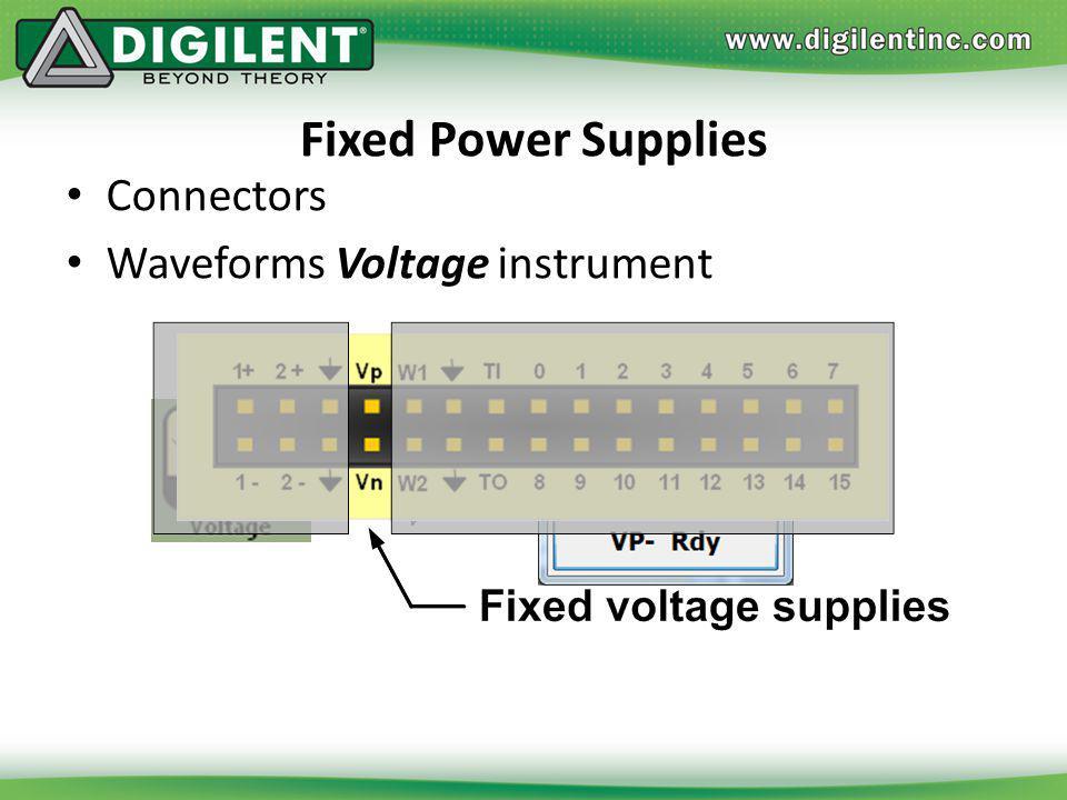 Fixed Power Supplies Connectors Waveforms Voltage instrument