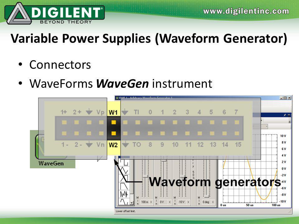 Variable Power Supplies (Waveform Generator) Connectors WaveForms WaveGen instrument