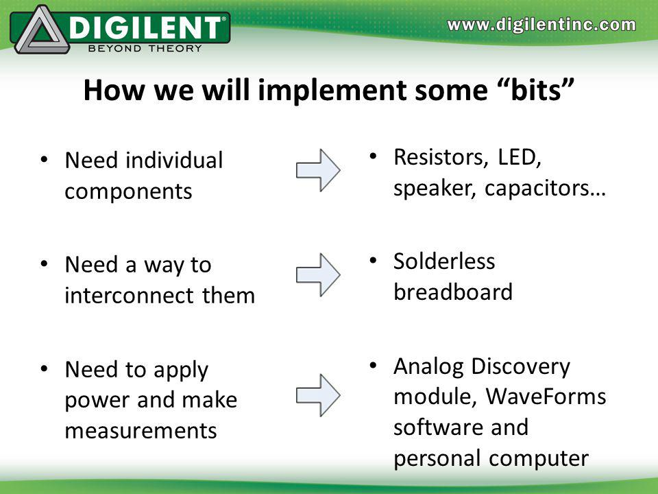 How we will implement some bits Need individual components Need a way to interconnect them Need to apply power and make measurements Resistors, LED, s