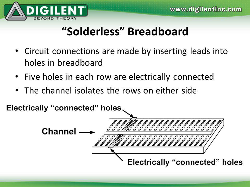 Solderless Breadboard Circuit connections are made by inserting leads into holes in breadboard Five holes in each row are electrically connected The c