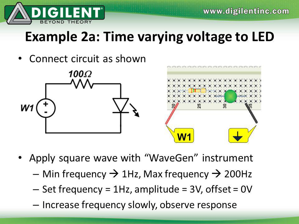Example 2a: Time varying voltage to LED Connect circuit as shown Apply square wave with WaveGen instrument – Min frequency 1Hz, Max frequency 200Hz –