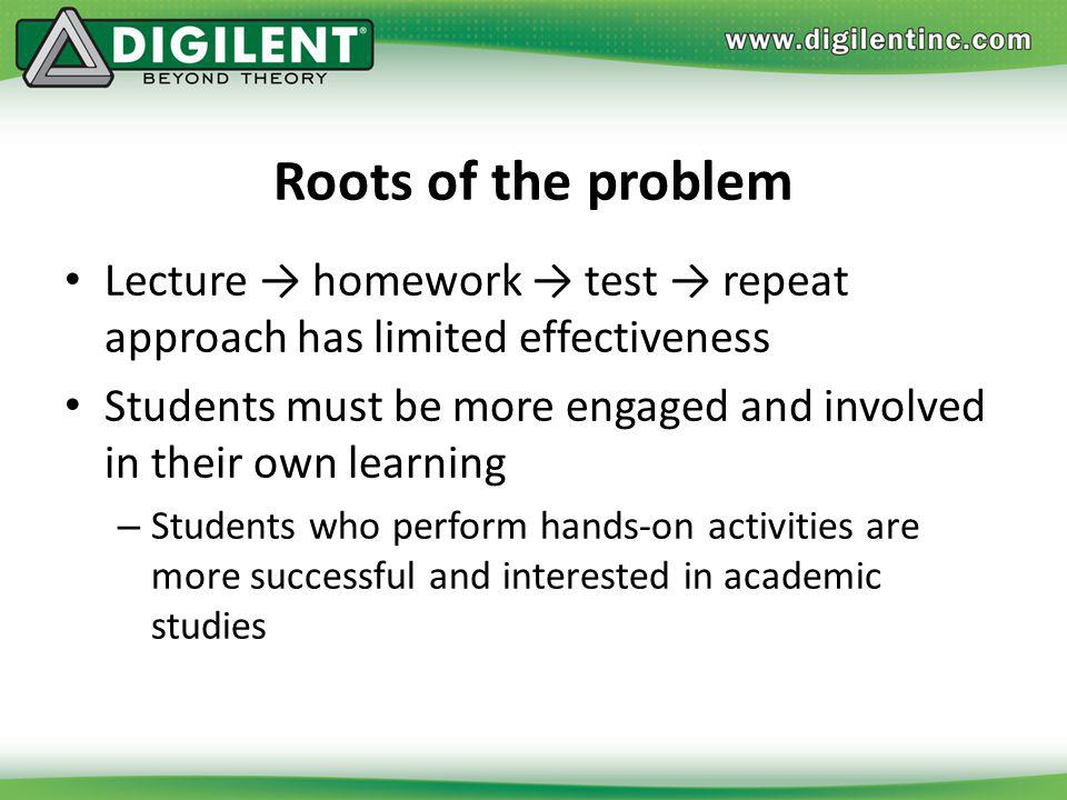 Roots of the problem Lecture homework test repeat approach has limited effectiveness Students must be more engaged and involved in their own learning