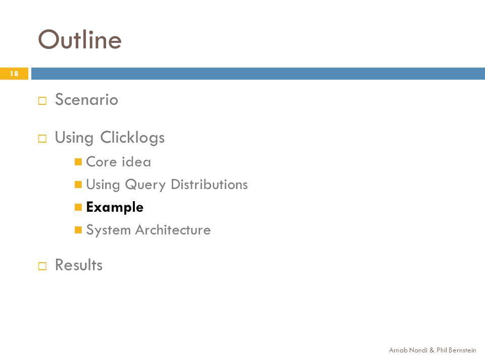 Outline 18 Scenario Using Clicklogs Core idea Using Query Distributions Example System Architecture Results Arnab Nandi & Phil Bernstein