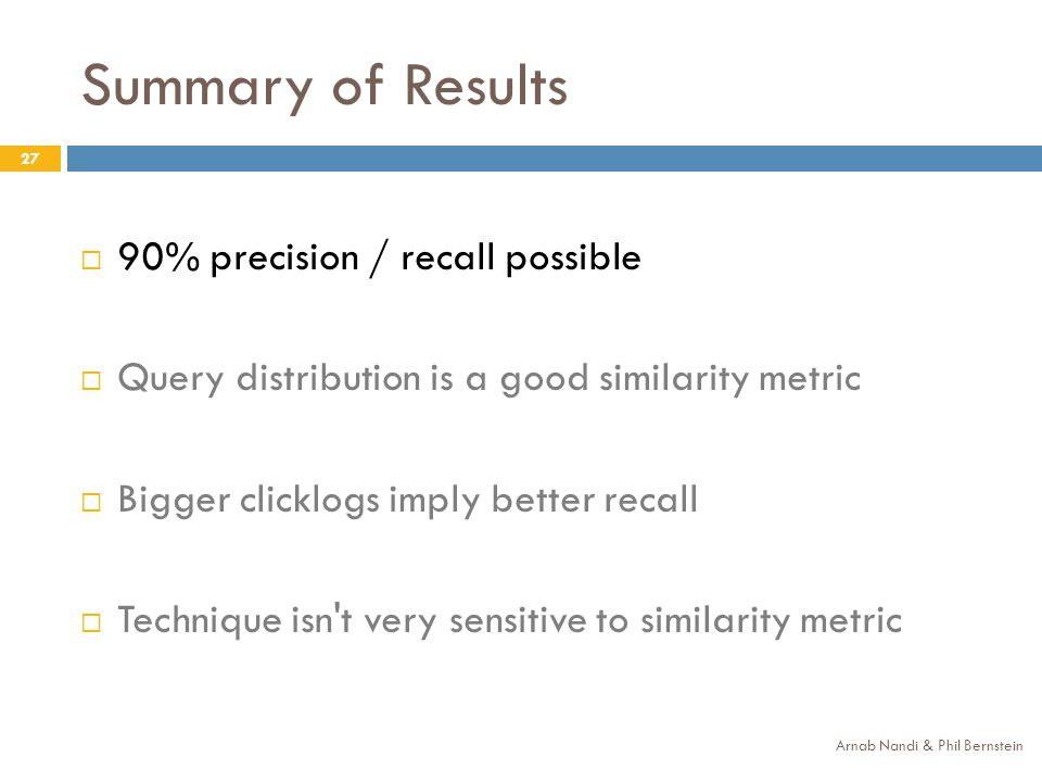 Summary of Results Arnab Nandi & Phil Bernstein 27 90% precision / recall possible Query distribution is a good similarity metric Bigger clicklogs imp