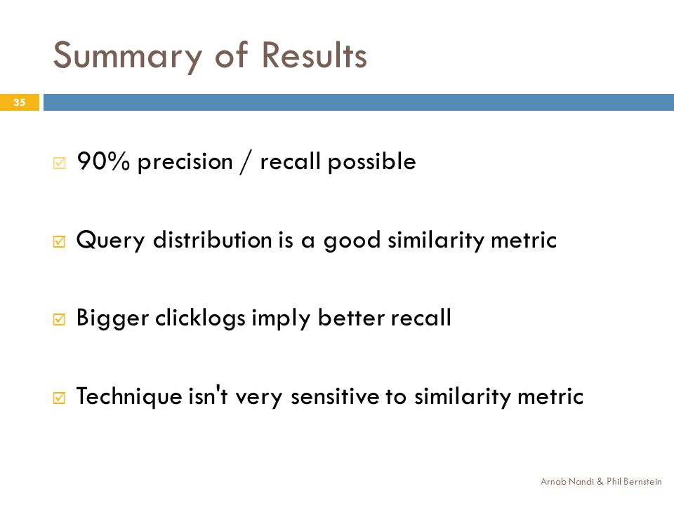 Summary of Results Arnab Nandi & Phil Bernstein 35 90% precision / recall possible Query distribution is a good similarity metric Bigger clicklogs imply better recall Technique isn t very sensitive to similarity metric
