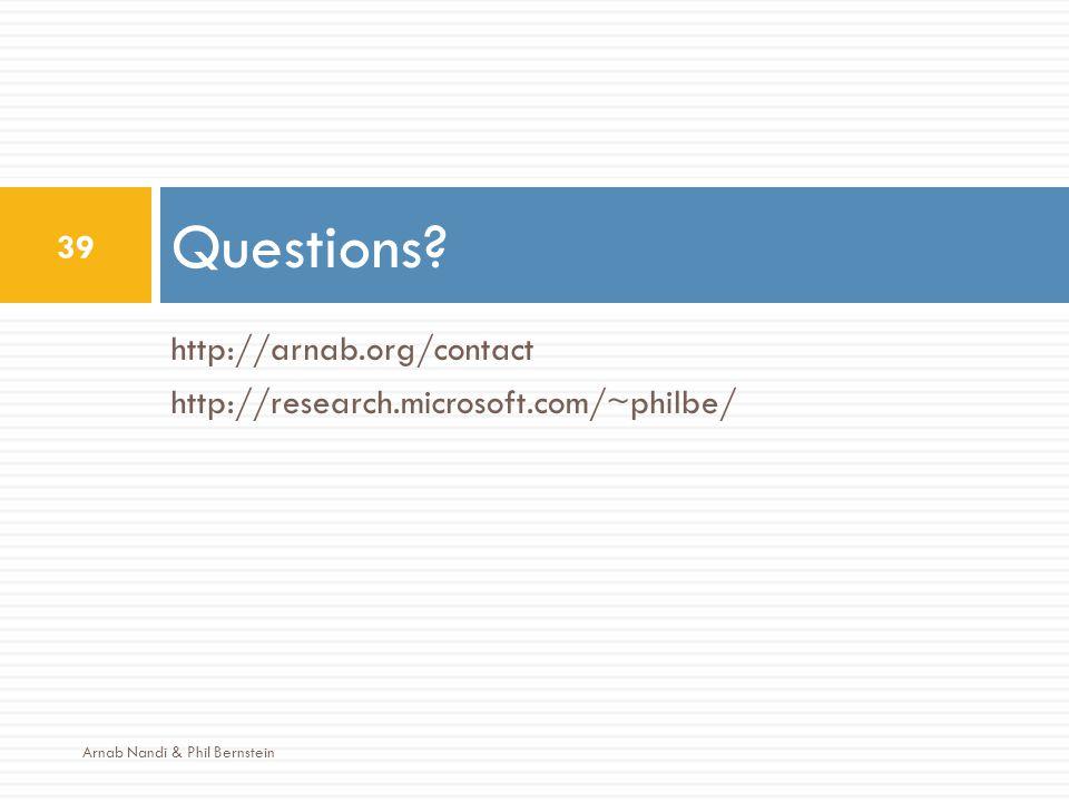 http://arnab.org/contact http://research.microsoft.com/~philbe/ Questions? 39 Arnab Nandi & Phil Bernstein