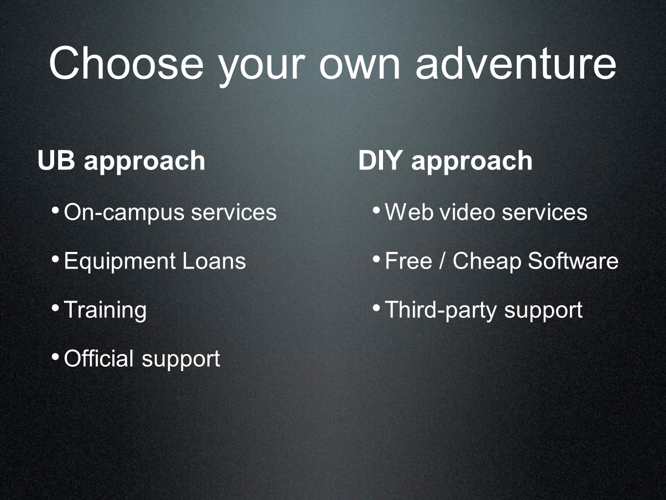 Choose your own adventure UB approach On-campus services Equipment Loans Training Official support DIY approach Web video services Free / Cheap Software Third-party support