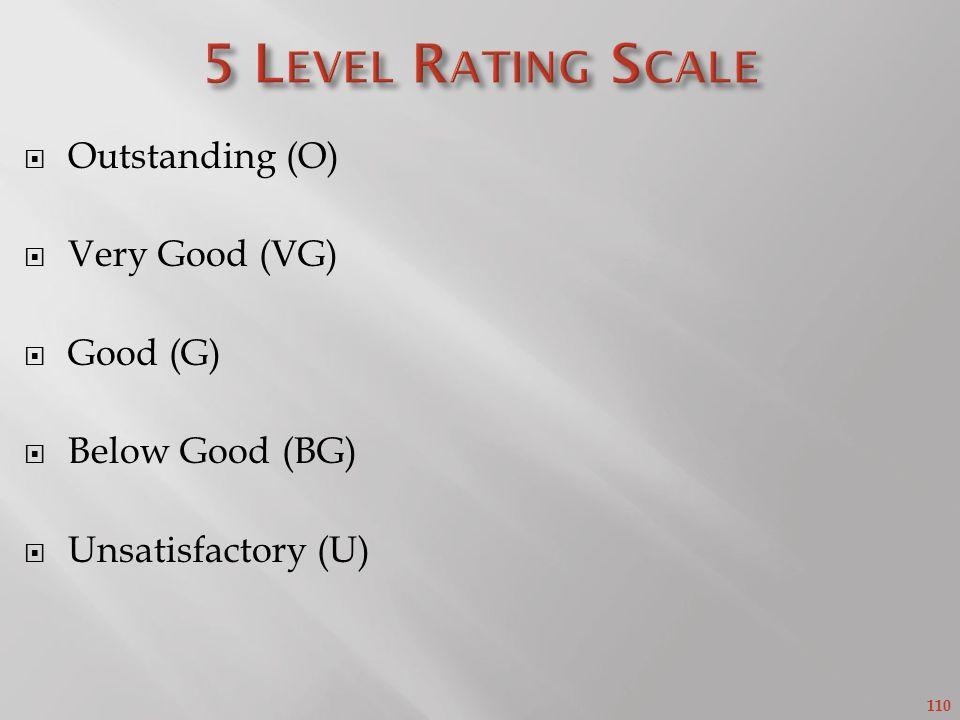 110 Outstanding (O) Very Good (VG) Good (G) Below Good (BG) Unsatisfactory (U)
