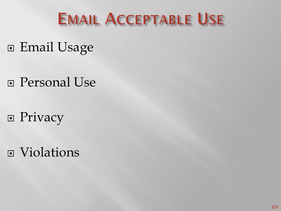 126 Email Usage Personal Use Privacy Violations