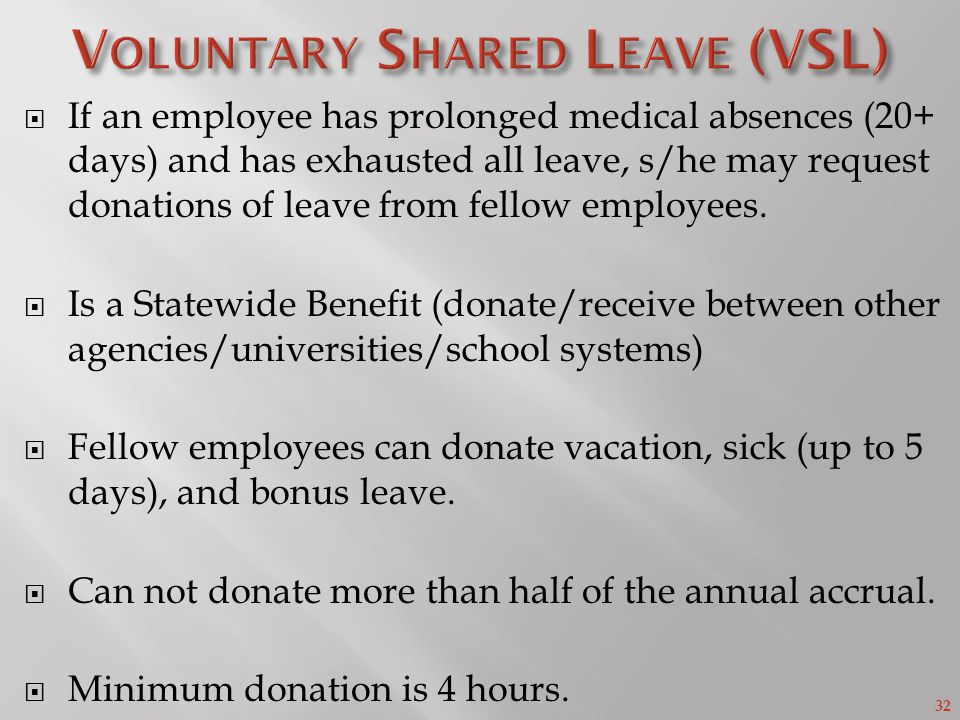 32 If an employee has prolonged medical absences (20+ days) and has exhausted all leave, s/he may request donations of leave from fellow employees.