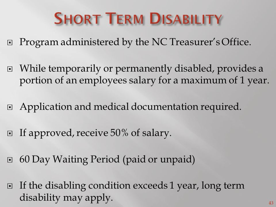 43 Program administered by the NC Treasurers Office.