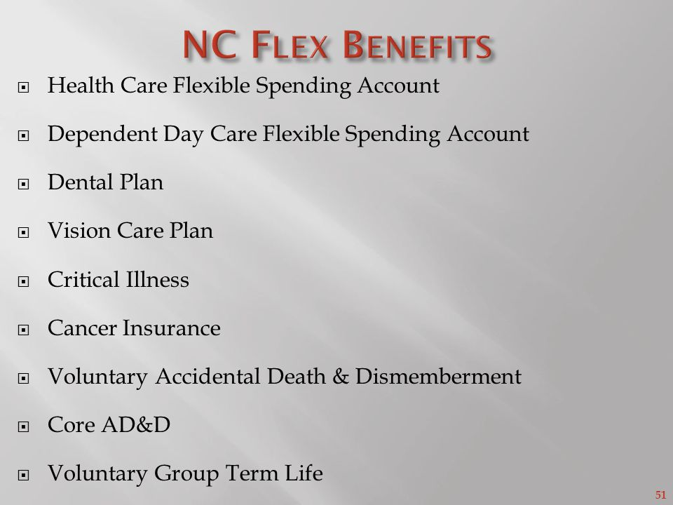 51 Health Care Flexible Spending Account Dependent Day Care Flexible Spending Account Dental Plan Vision Care Plan Critical Illness Cancer Insurance Voluntary Accidental Death & Dismemberment Core AD&D Voluntary Group Term Life