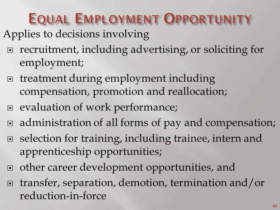 66 Applies to decisions involving recruitment, including advertising, or soliciting for employment; treatment during employment including compensation, promotion and reallocation; evaluation of work performance; administration of all forms of pay and compensation; selection for training, including trainee, intern and apprenticeship opportunities; other career development opportunities, and transfer, separation, demotion, termination and/or reduction-in-force