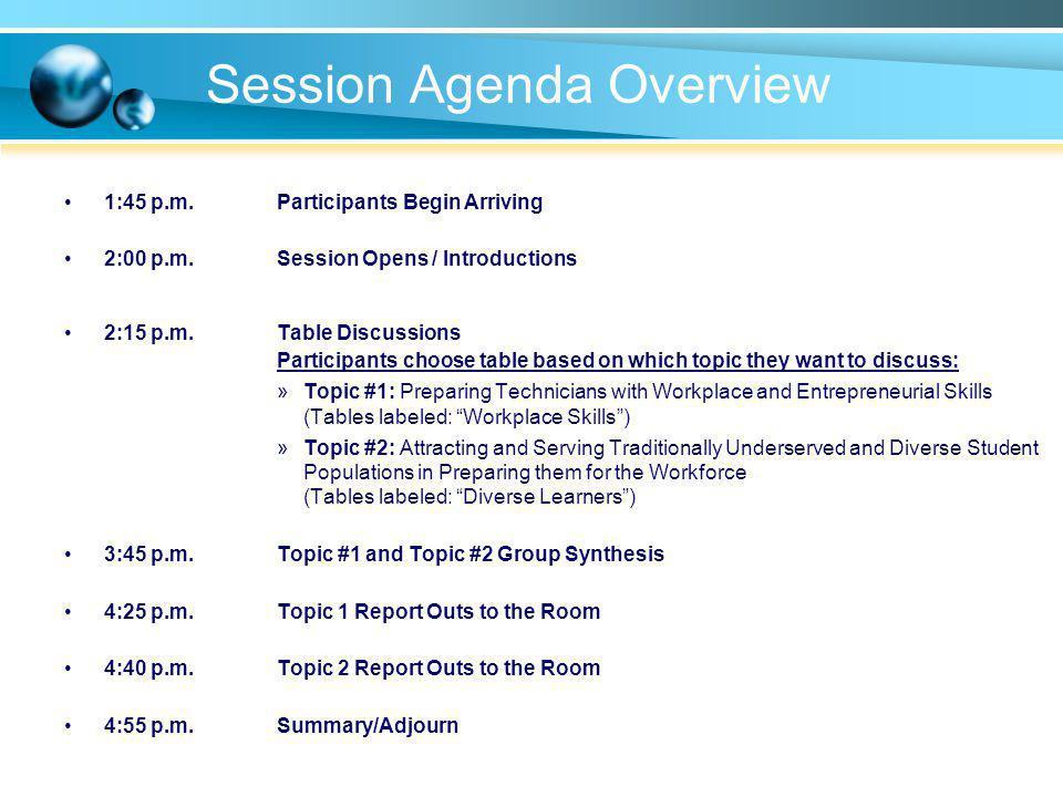 Session Agenda Overview 1:45 p.m.Participants Begin Arriving 2:00 p.m.Session Opens / Introductions 2:15 p.m.Table Discussions Participants choose tab