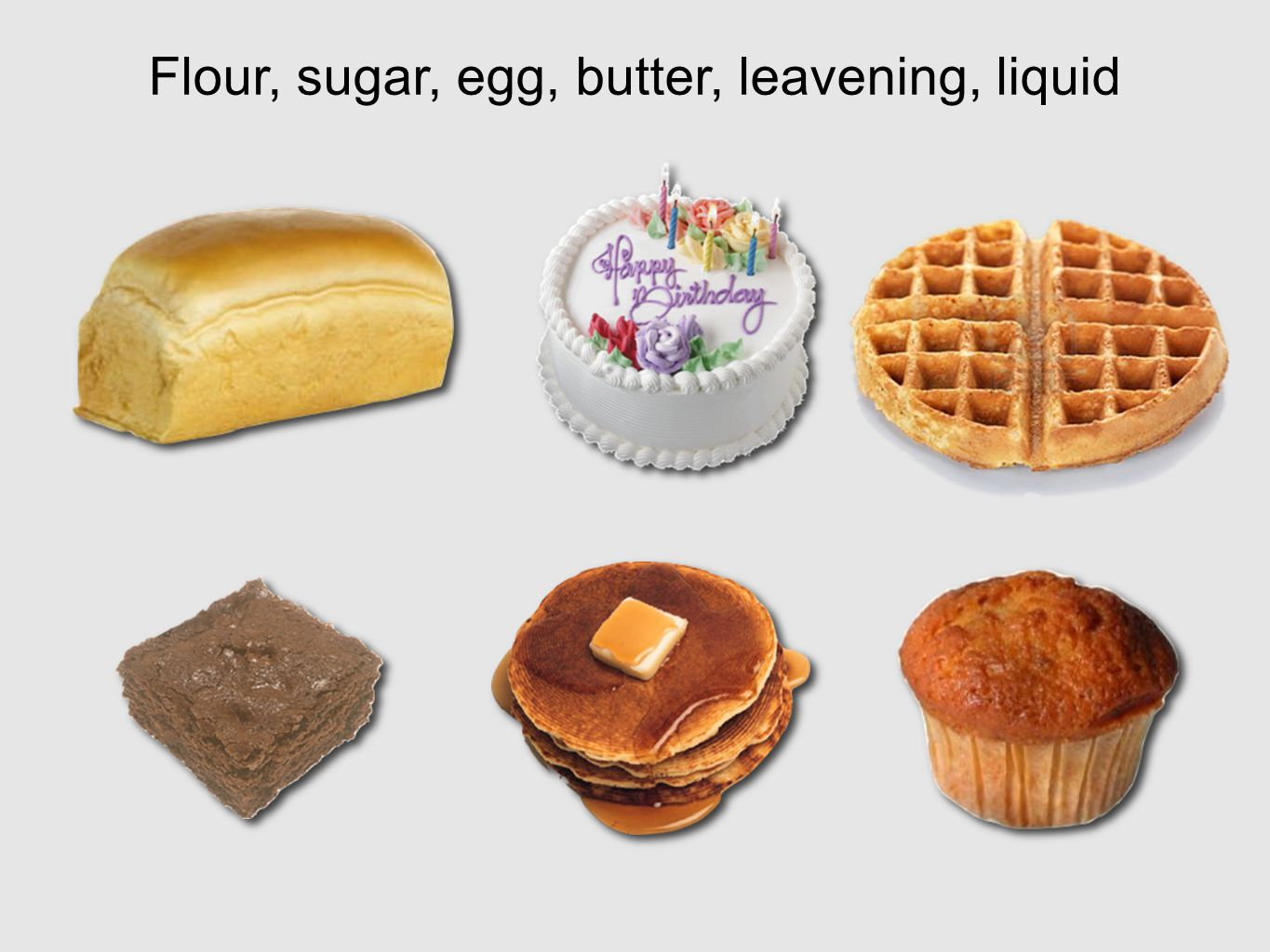 Flour, sugar, egg, butter, leavening, liquid