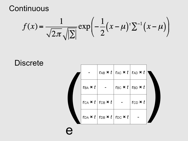Continuous -r AB × tr AC × tr AD × t r BA × t-r BC × tr BD × t r CA × tr CB × t-r CD × t r DA × tr DB × tr DC × t- e ( ) Discrete