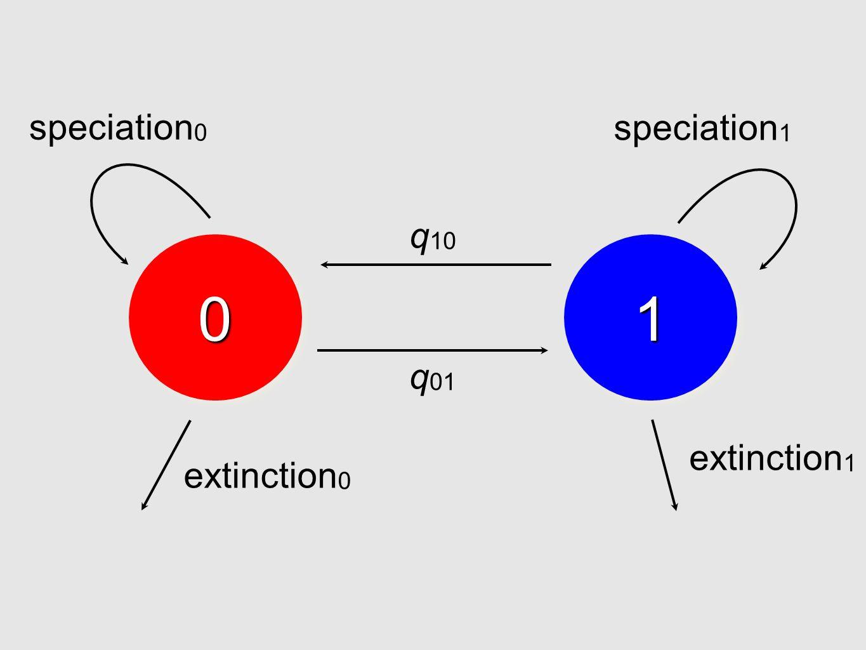 0011 q 01 q 10 speciation 0 speciation 1 extinction 0 extinction 1