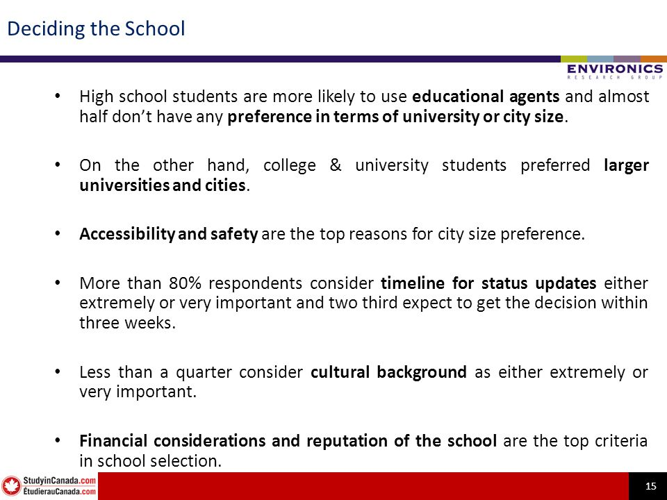 15 Deciding the School High school students are more likely to use educational agents and almost half dont have any preference in terms of university