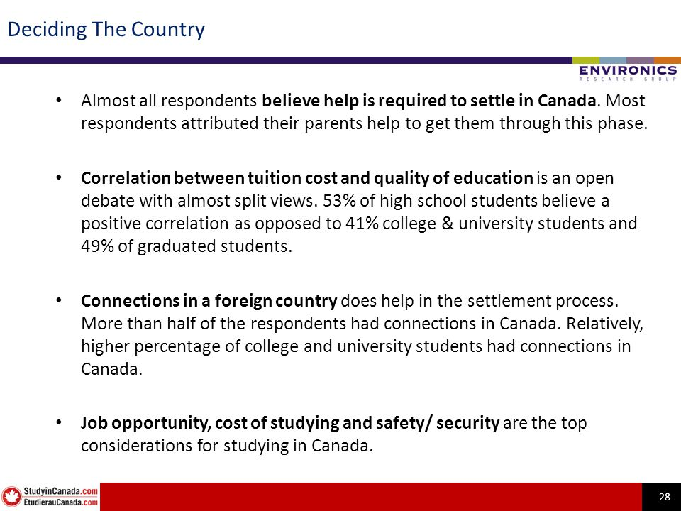 28 Deciding The Country Almost all respondents believe help is required to settle in Canada. Most respondents attributed their parents help to get the